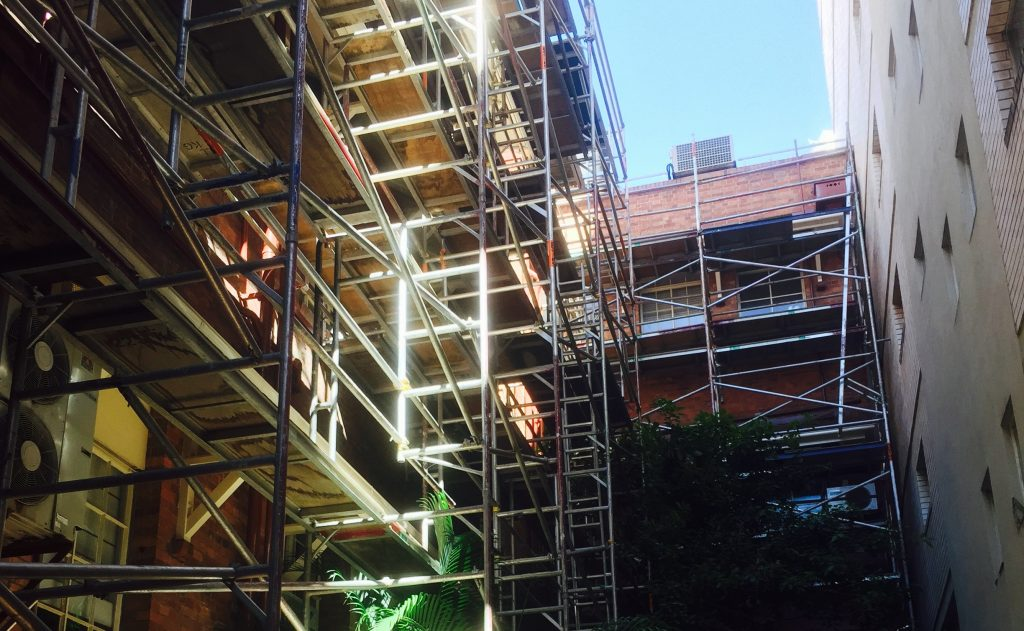 commercial construction scaffolding project in a brisbane office building